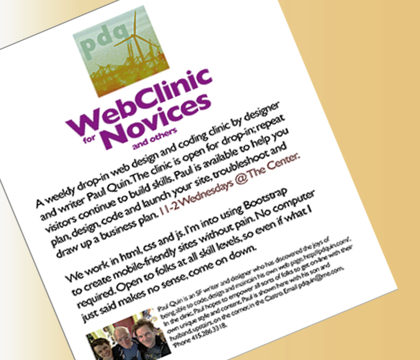 Brochure for web clinic at the Center, SF, in process